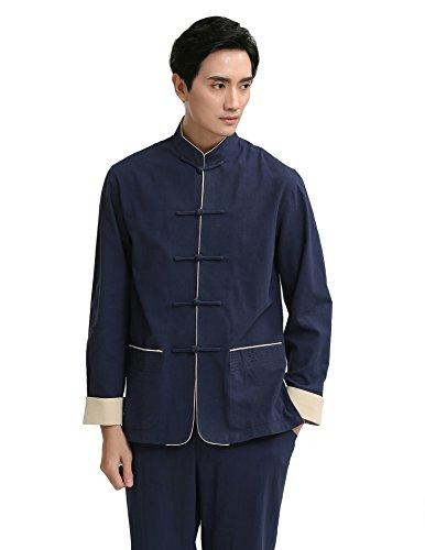 tradizionale cinese scuro Tang da Giacca Kung blu manica Stile Fu uomo Acvip lunga Giacca ZKwC0BqYC