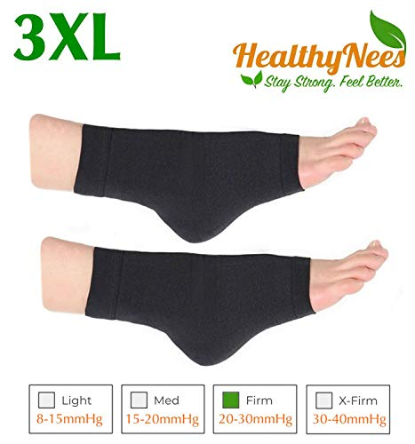 HealthyNees Extra Wide Ankle Big Feet 20-30 mmHg Compression Swelling Foot Pain Circulation Plus Size Sock Open Toe Sleeve (Black, Big Ankle 3XL)