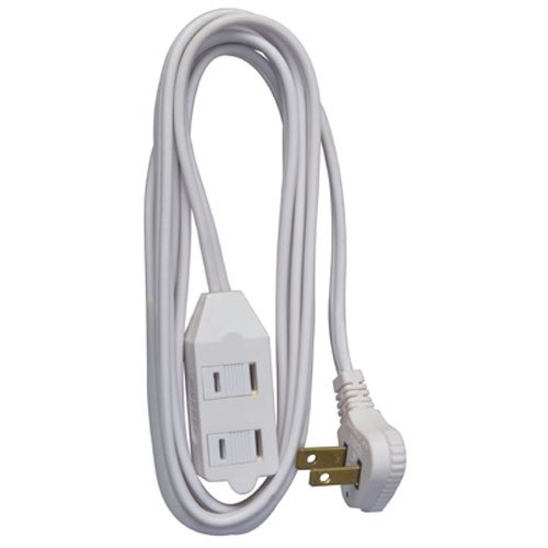Master Electrician 09417ME 7-Feet Vinyl Low Profile Cube Tap Extension Cord, White