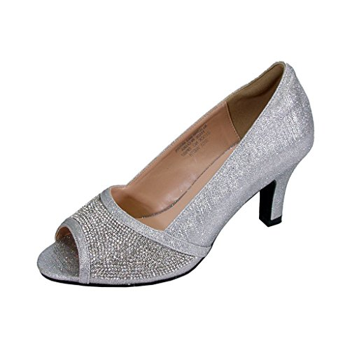 Floral Noemi Women Extra Wide Width Open-Toe Rhinestone Slip-On Party Heeled Dress Pumps Silver 7