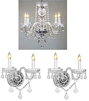 3pc Lighting Set Crystal Chandelier And 2 Wall Sconces Amazon Com
