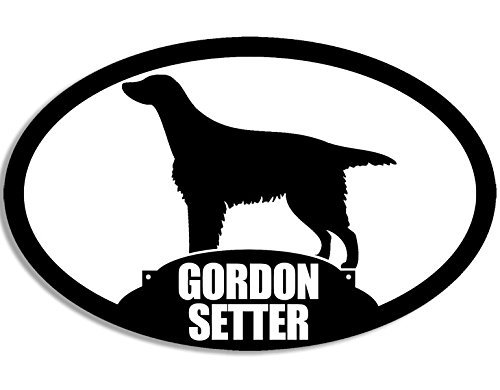 (MAGNET Oval GORDON SETTER Silhouette Magnetic Sticker (dog breed))