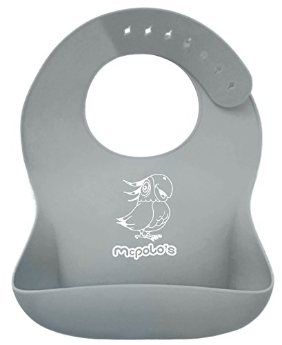 """Price comparison product image McPolo's Very Smiley Parrot iBib LE COTY Series - the """"iPhone"""" in Silicone Baby Bib World - Fitting MORE Growing Babies 2 MO to 6 YO Toddlers & PreSchoolers comfortably with Smart Buttons"""