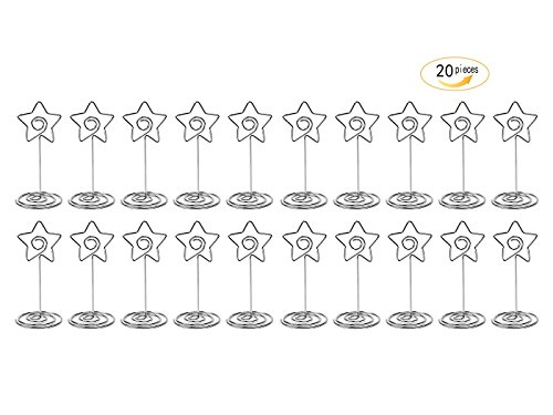 Star Card Holder - 20 Pcs 85mm Tall Star Shape Metal Table Number Holder Stands for Weddings Party Gatherings, Place Card Holder,Photo/Picture Holder