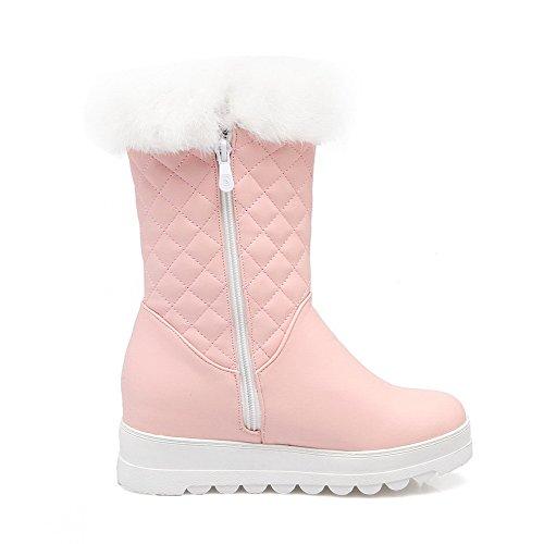 AllhqFashion Damen Ziehen auf Mittler Absatz PU Leder Rein Niedrig-Spitze Stiefel, Pink, 35