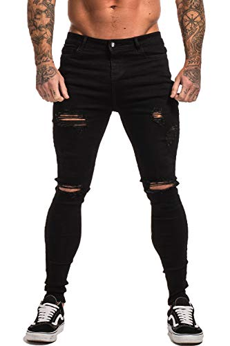 GINGTTO Black Skinny Jeans for Men Ripped Jeans Slim Fit Denim Jeans ()