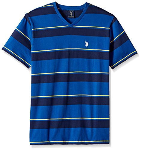 U.S. Polo Assn. Men's Short Sleeve V-Neck Striped T-Shirt, Royal Sapphire, L