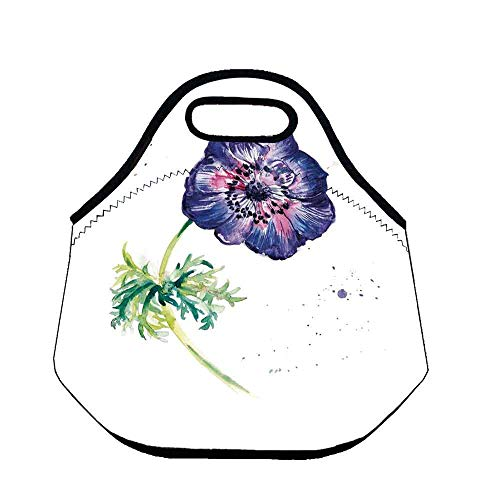 - Anemone Flower Neoprene Lunch Bag,Branch of Garden Flower with Watercolor Splashes Nature Inspired Decorative for Students Women Office worker,Throw(11.8''L x 6.3''W x 11''H)