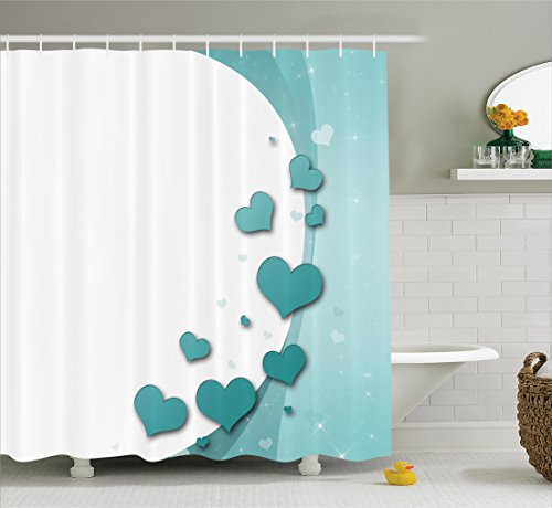 Valentines Day Turquoise Shower Curtain Set By Ambesonne, Romance Art With Hearts Stars Wedding Happiness Theme, Bathroom Decor with Hooks, 69W X 70L Inches, White Turquoise