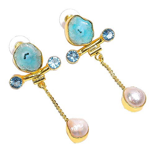 Solar Quartz Druzy, Pearl, Blue Topaz Quartz Gemstone Dangle Earrings, Gold Plated Brass Handcrafted Women Jewelry BE650
