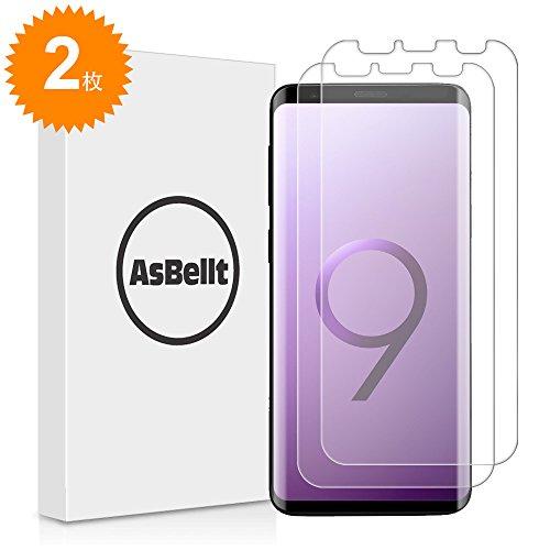 宿題をする絶対の薄いGalaxy S9 フィルム AsBellt 全面保護 貼り直し可 スムースタッチ 気泡なし ケースと併用できる 99% 高透過率 TPU素材 Samsung Galaxy S9 対応 透明ケース付き 5.8 インチ (2枚)