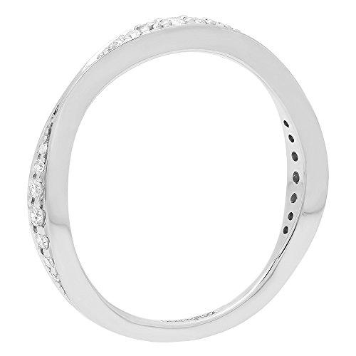 0.20 Carat (ctw) 14K White Gold Round Diamond Ladies Anniversary Wedding Band 1/5 CT (Size 8) by DazzlingRock Collection (Image #2)