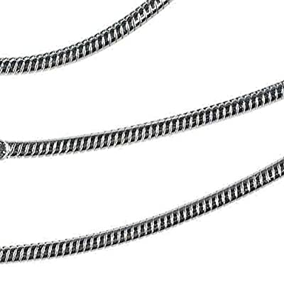 Sterling Silver Snake Chain Rhodium 1.2mm 18 Inch by ugems