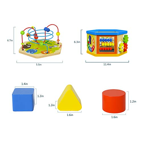 TOP BRIGHT Activity Cube Toys Baby Educational Wooden Bead Maze Shape Sorter 7-in-1 Toys for 1 Year Old Boy and Girl Toddlers Gift by TOP BRIGHT (Image #6)