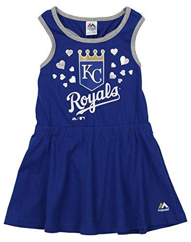 Outerstuff MLB Little Girls (4-7) Kansas City Royals Criss Cross Tank Dress, Royal Blue Small - Dress Royal Blue Cheer