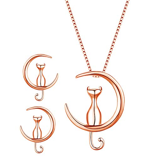 Jenny-BaBy Sterling Silver Cat On The Moon Freshwater Cultured Pearl Pendant Necklace Earring Set for Women and Girls (Rose Gold)