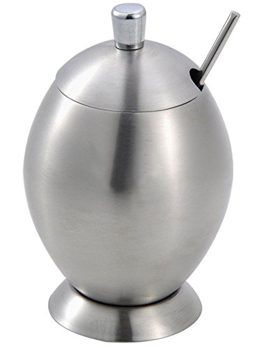 Sugar Bowl, KSENDALO 9.8 Ounces Sugar Jar, Deluxe 18/8 Stainless Sugar/Salt Bowl, KSENDALO Serving Bowl 290 Milliliter Seasoning Container Condiment Jar for Home/Cafe, Egg Shaped
