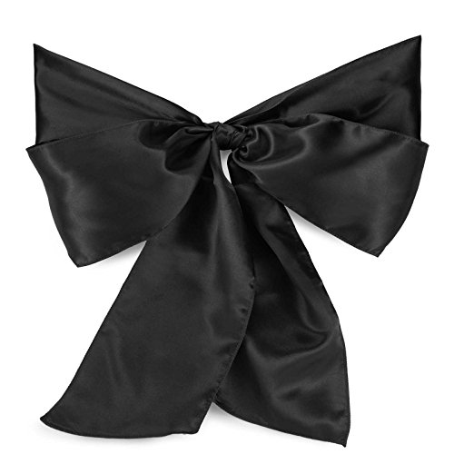 Lann's Linens Satin Chair Sashes / Bows - for Wedding or Banquet - Black - 10pcs - Ribbon Chair Cover