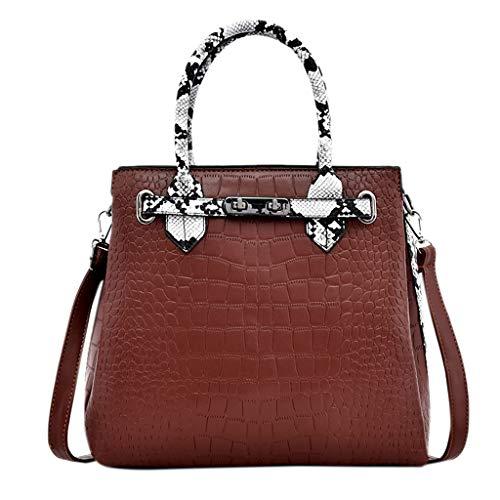 - Women's Briefcase PU Leather Crossbody Messenger Zipper Bag Shoulder Satchel Snakeskin Pattern Bag Adjustable Strap Hard Handle Handbag