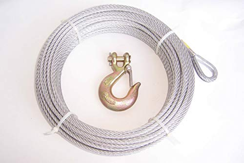 """Lotus energy 1/4"""" x 50 ft Galvanized Wire Rope Winch Cable + 5/16"""" Grade 70 Clevis Slip Hook"""
