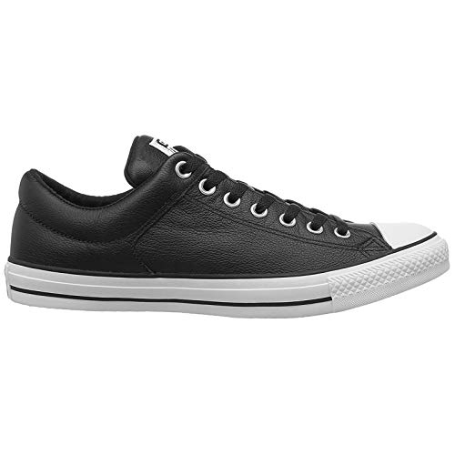 (Converse Men's Street Leather Low Top Sneaker, Black/White, 9 M)