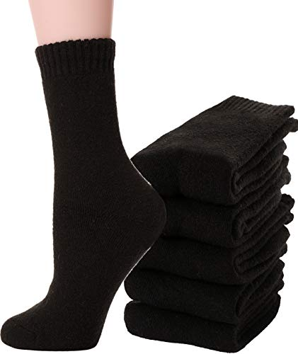 Womens Wool Socks Fuzzy Heavy Thermal Thick Warm Cotton Boot Winter Socks 5 Pairs (Black)