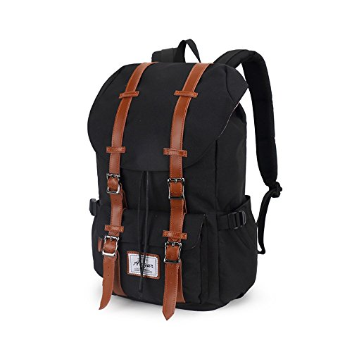 "VRIKOO Casual Daypacks Outdoor Travel Hiking Shoulder Backpack 14"" Laptop Bag for Men and Women Negro"