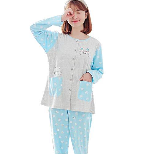 Huifei Metro Que color Tamaño Y Azul Algodón Animados Mujeres Las Amamantan Manga De Dibujos Primavera Patrón Otoño Embarazadas Pijamas Azul Larga 1rqHna1