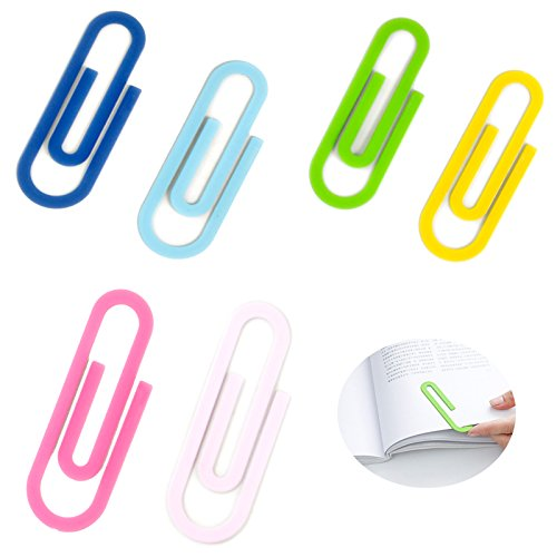 6 Pack Large Metal Paper Clips - 4 Inch Multicolored Bookmark Page Markers, Jumbo Sheet Holder Cute Binder Clip for Files, Papers, Office Supply