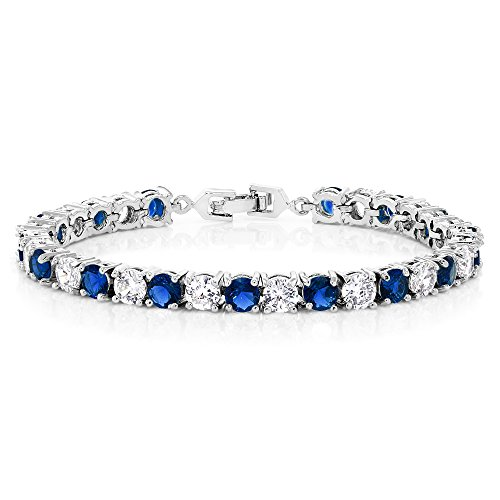 Sparkling Multi-Color Round Cubic Zirconia CZ Women's Tennis Bracelet (7.50 cttw, 7 Inch), Blue and White