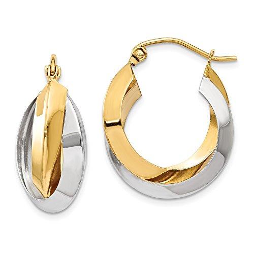 14k Two Tone Yellow Gold Knife Edge Double Hoop Earrings Ear Hoops Set Fine Jewelry Gifts For Women For Her
