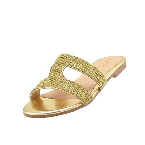 Olivia and Jaymes Women Flat Sandals Glitter Embellished H Band Sandal (10, Gold)