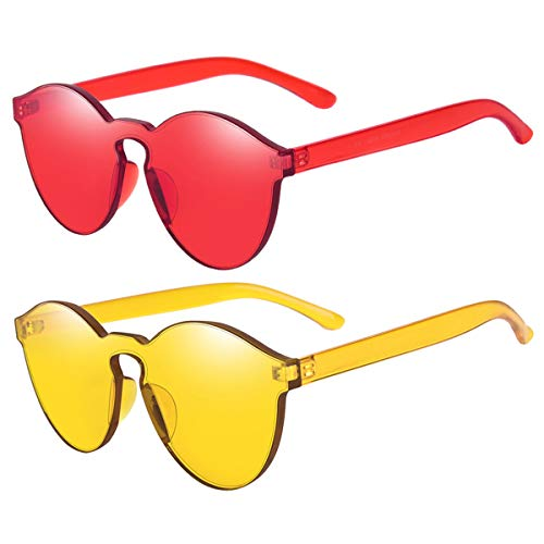One Piece Rimless Sunglasses Transparent Candy Color Tinted Eyewear(Red+Yellow)