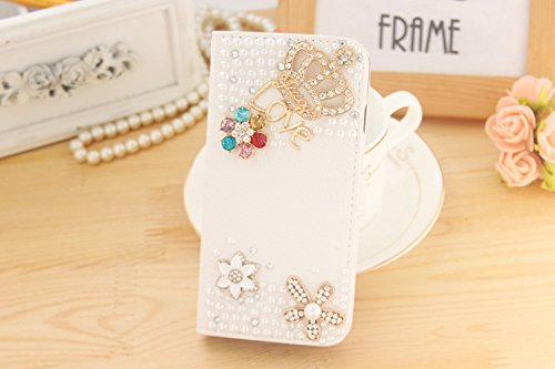 HTC Desire 610 Case, iCaseMini® PU Leather Purse Case w/Card ID Holder White Luxury 3D Fashion Handmade Glitter Bling Diamond Pearl Flip Crystal Wallet Card Pouch Stand Cover-Crown