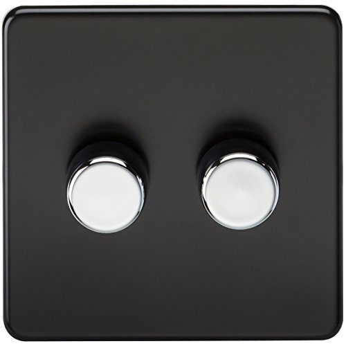 Knightsbridge SF2162MB 2-Gang 2-Way 60 - 400 W Screwless Dimmer - Matt Black with Chrome Knobs by Knightsbridge
