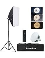 Softbox Lighting Kit MOUNTDOG Studio Photography Continuous Lights Softbox With Dimmable LED 3 Colors Bulbs (85W/5700K) Remote Control and Adjustable Tripod for Portraits Fashion Advertising Photo Shooting YouTube Video Live Steam