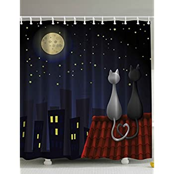 animal kids bathroom shower curtain baby decor by ambesonne cute sweet kitten cats on roof with love moonshine and stars girls boys fabric for nursery