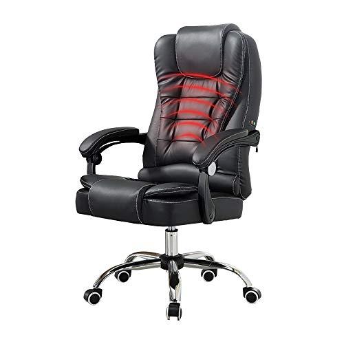 Silla Boss, Silla de Oficina ejecutiva de Cuero reclinado de PU con función de Masaje en la Cintura Sillón ergonómico (Color : Black)