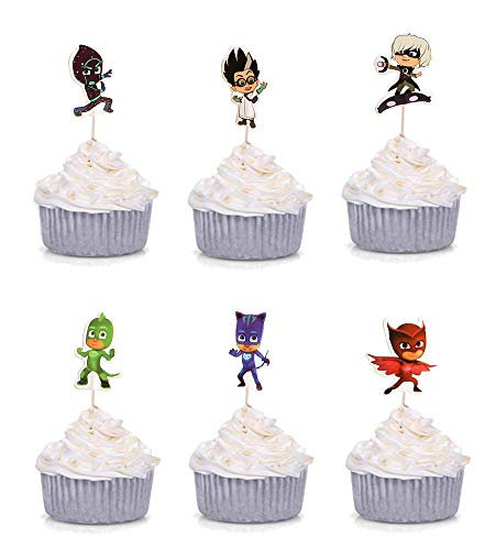 - SUYEPER 24 PCS PJ Mask Cupcake Toppers for Birthday Party Decoration Supplies
