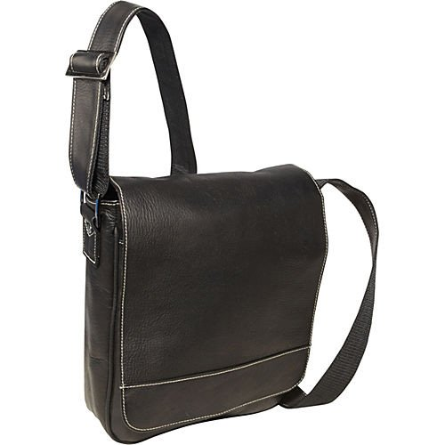 David King & Co. Deluxe Medium Flap-Over Messenger, Black, One -