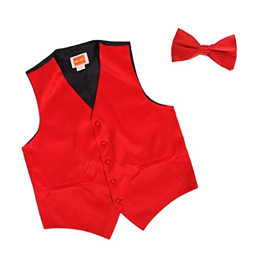 - Dan Smith DGEE0010-XL Red Solid Microfiber Christmas Tuxedo Vest Satin Presents For Evening Vest Matching Bow Tie