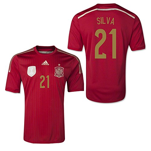 2014-15 Spain World Cup Home Shirt (Silva 21) Kids B077VJ9YNPRed XL Boys 32-34\