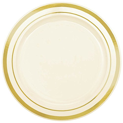- Gourmet Home Products 12 Count Premium Heavy Weight Reusable Plastic Dinner Plates, 10.5