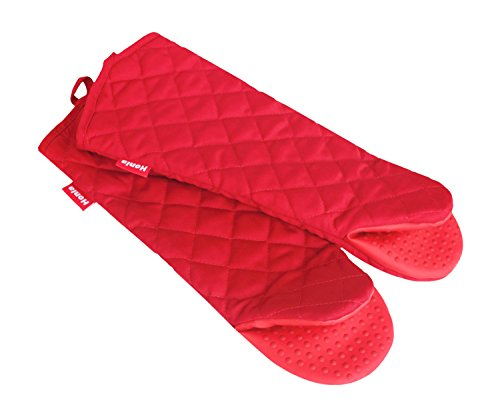 (Honla 17 Inch Extra Long Oven Mitts with Non Slip Silicone Grip,Heat Resistant to 500 F,1 Pair of Kitchen Oven Gloves for Cooking,Baking,Grilling,Barbecue Potholders,Red)
