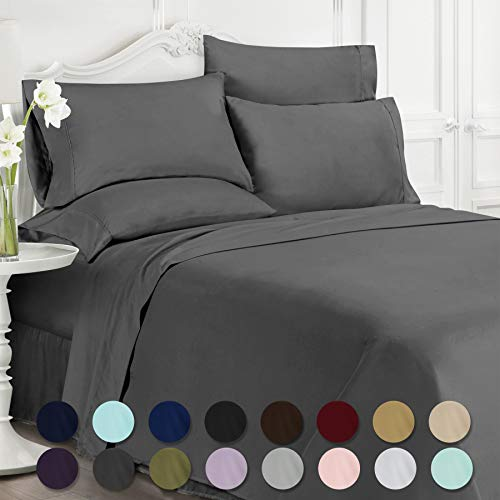 Swift Home Luxury Bedding Collection, Ultra-Soft Brushed Microfiber 6-Piece Bed Sheet Sets, Extremely Durable - Easy Fit - Wrinkle Resistant - (Includes 2 Bonus Pillowcases), King, Grey
