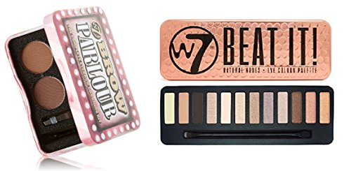 Wholesale W7 Holiday Kit: Beat It! Natural Nudes Eye Colour Palette Tin, 12 Eye Shadows + Brow Parlour The Complete Eyebrow Grooming Kit + FREE Curad Bandages, 8 Ct.
