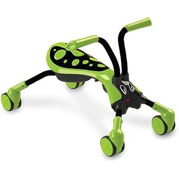 Scramblebug Toy Ride On – 4-Wheel Folding Balance Bike for Kids – Indoor & Outdoor Scooter With 360° Caster Wheels, Front Wheel Steering & Adorable Bug Design(Lime Green, Black)