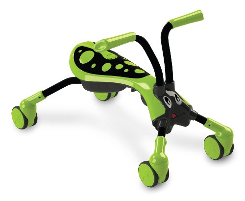 Scramblebug Toy Ride On – 4-Wheel Folding Balance Bike for Kids – Indoor & Outdoor Scooter With 360° Caster Wheels, Front Wheel Steering & Adorable Bug Design(Lime Green, Black) (Work Rugged Roll Seat)