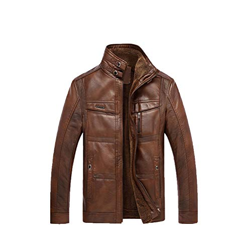 - Mens Leather Jackets Warm Thick Outerwear Male Biker Motorcycle Zipper Mens,Light Coffee,4XL