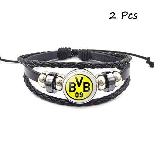 (FANwenfeng Retro Bundesliga Soccer Club Badge Beaded Woven Leather Bracelet Football Sport Wristband for Fans 2 Pcs (Borussia Dortmund))